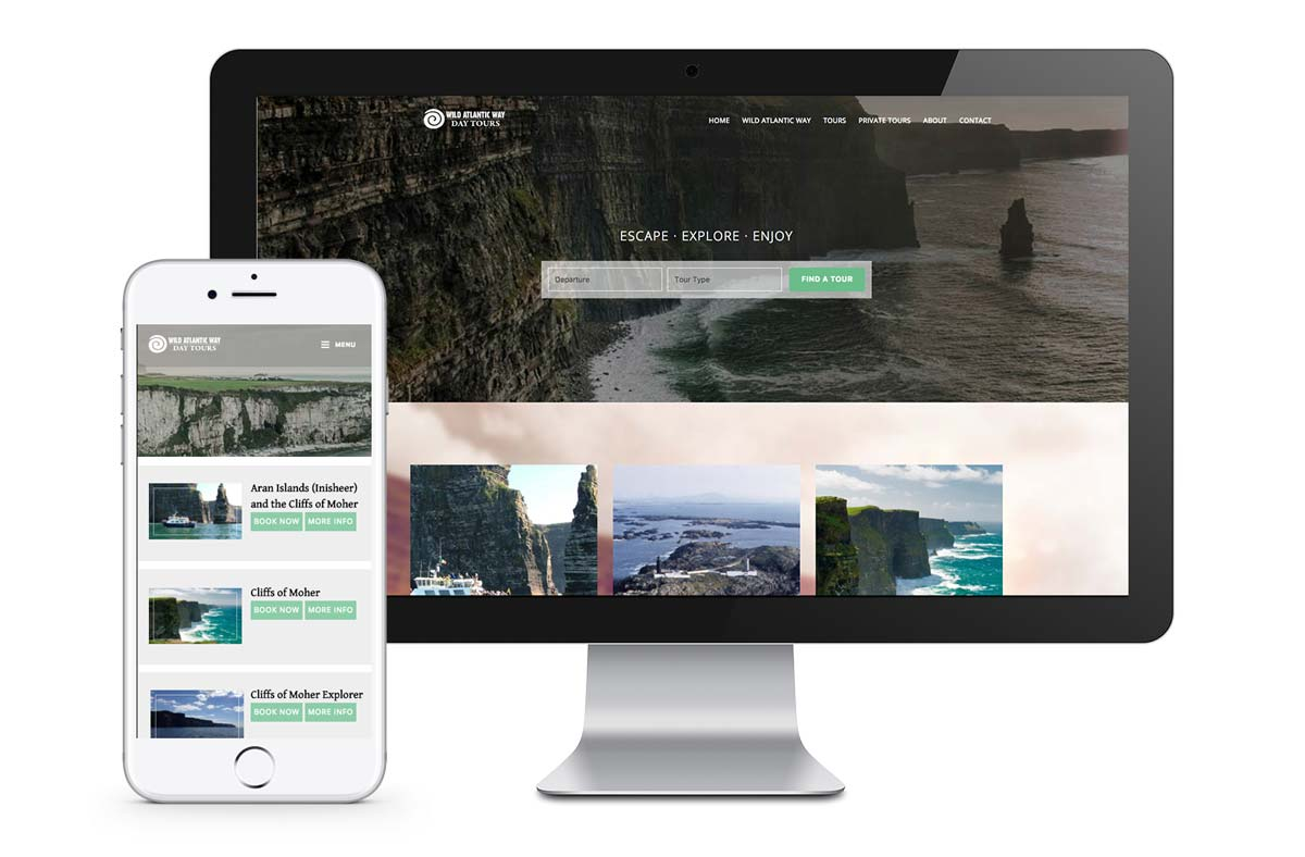 web design for galway tour company mockups